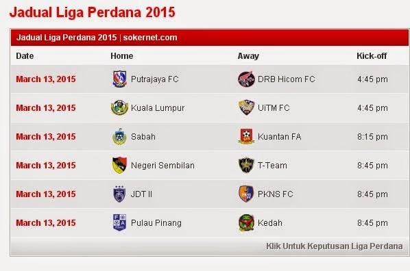 Jadual Perlawanan Liga Perdana 13.03.2015