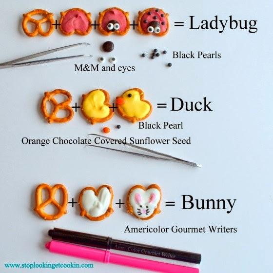 http://www.stoplookingetcookin.com/2012/03/ladybug-duck-and-bunny-pretzels/
