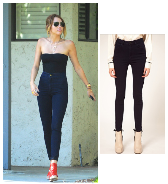 Miley Cyrus: ASOS Supersoft High waist Ultra Skinny Jeans in Deep ...