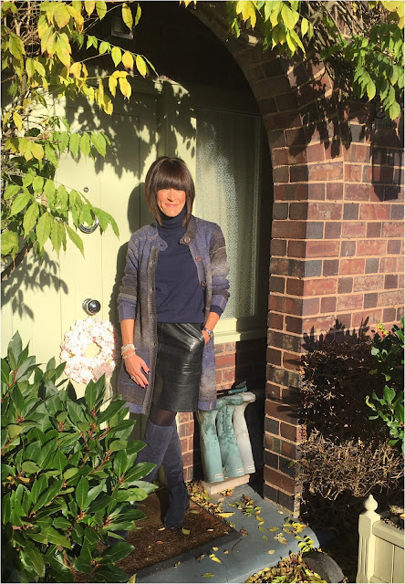 My Midlife Fashion, Charlotte Tilbury, Colour Chameleon Gold Digger, damart longline cardigan, zara faux leather a line skirt, clarks caddy belle over the knee boots, belle jane jewellery, boden polo neck