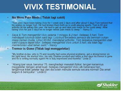 Testimoni Vivix Shaklee suplemen terbaik merawat Penyakit Parkinson