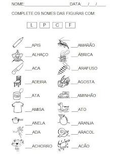 Atividade 3 complete a letra inicial. Alfabetização.