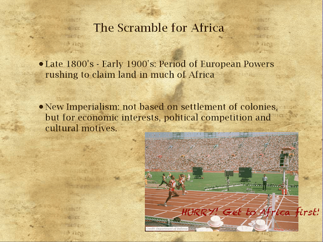 the scramble for africa in late The new european states (germany and italy) also paricipated in the scramble for africa the germans were however, late to the table and did not in the 1870s have a navy of any importance.