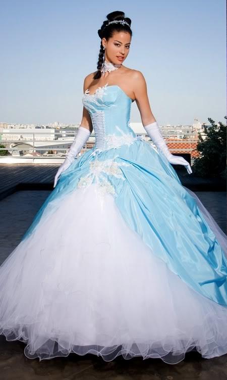 Robes de mariage robes de soir e et d coration robe de for Robe blanche et bleue pour mariage