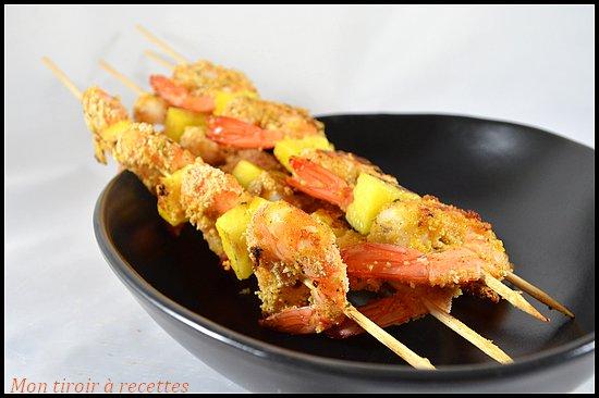 brochettes crevettes panées