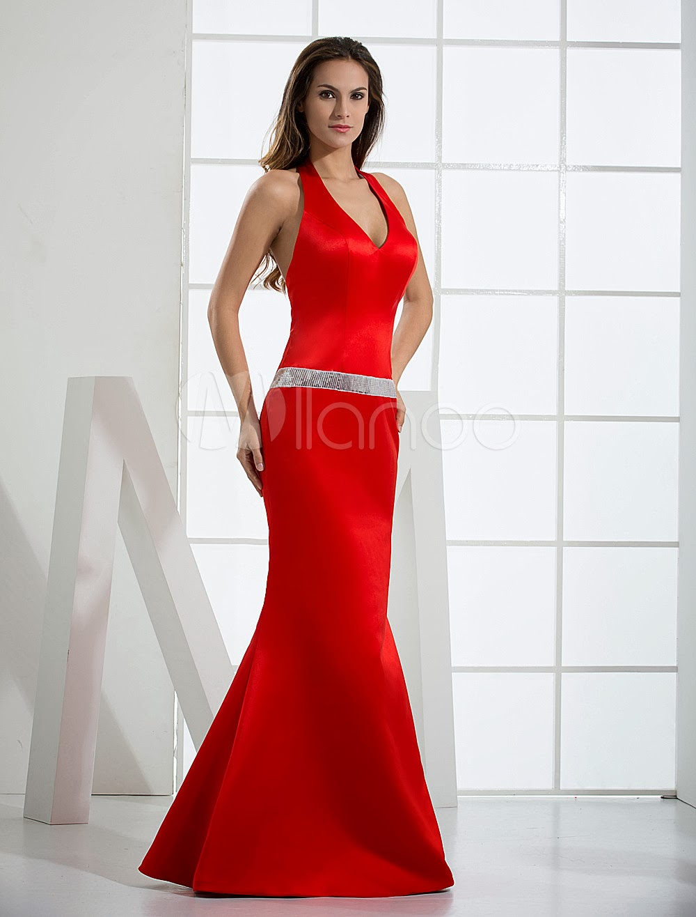 China Wholesale Dresses - Mermaid Trumpet V-Neck Halter Sash Satin Evening Dress
