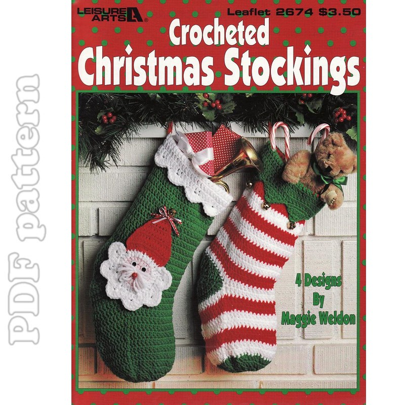 Crochet Patterns For Xmas Stockings : Christmas Stockings Crochet Pattern PDF CraftyLine e-pattern shop