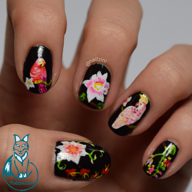 Parrot and flower nail art
