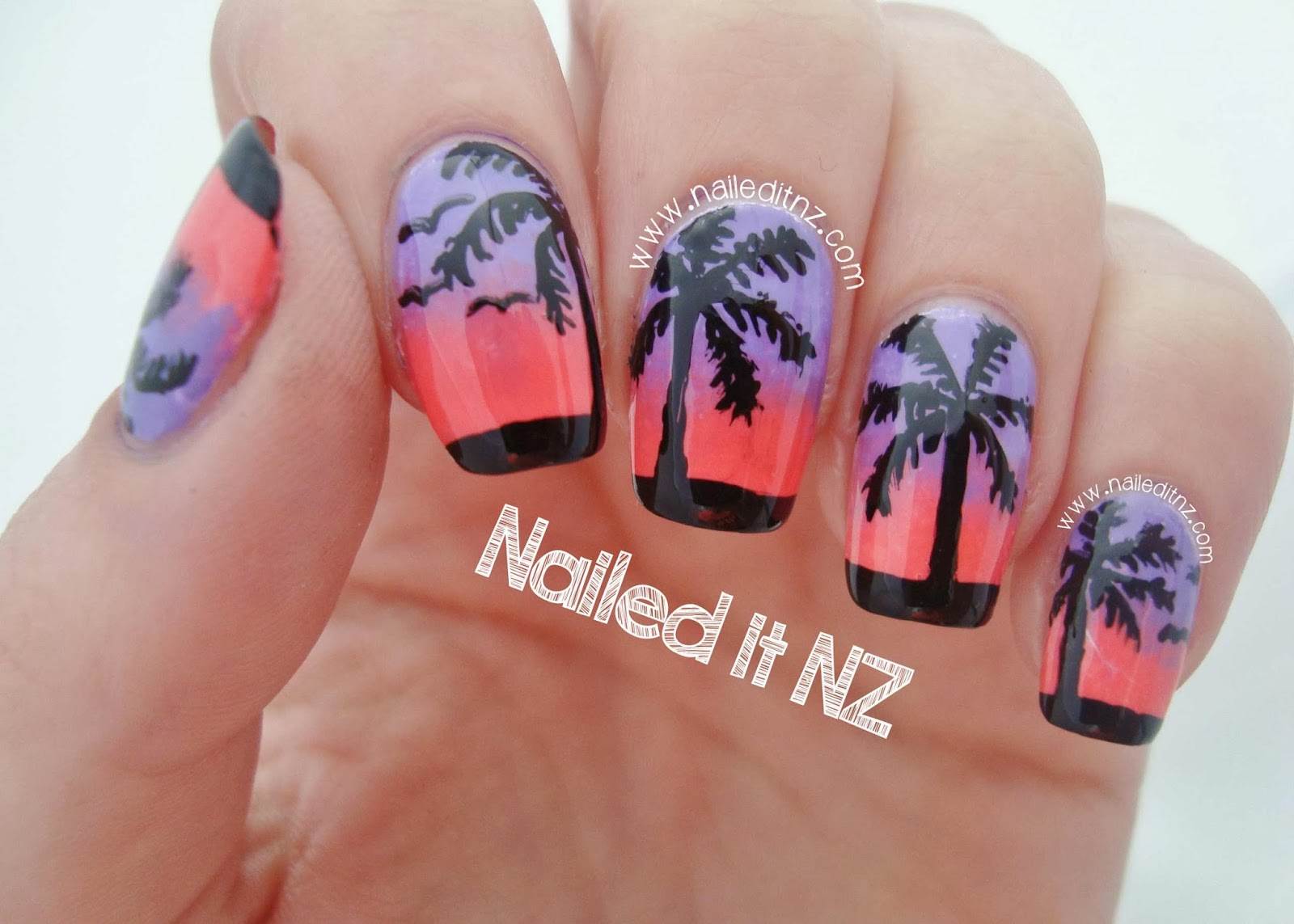 Sunset and Palm Tree Nails | Trip Down Nail Art Lane Day 7