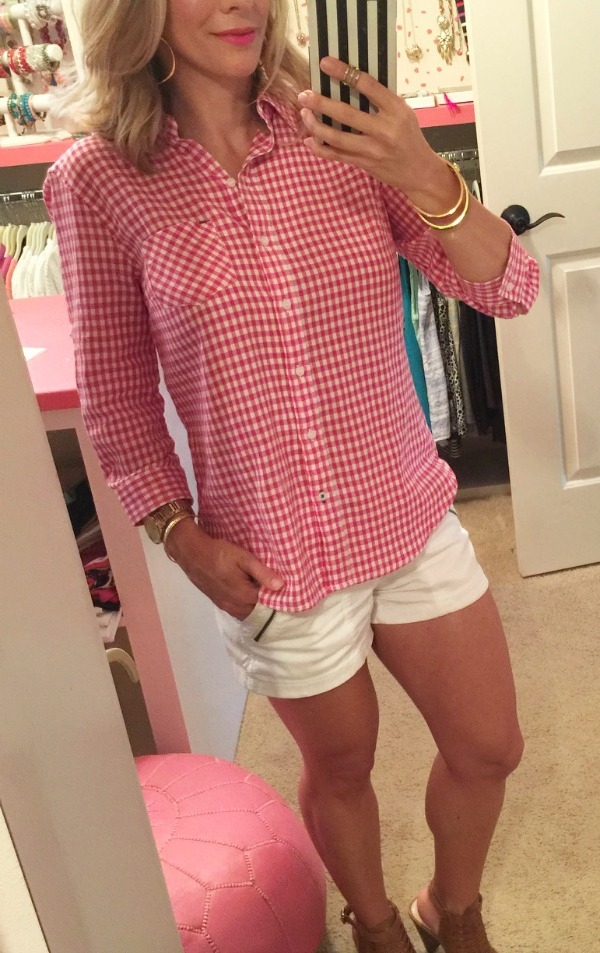 Summer Fashion - perfect vintage military shorts (other colors) + gingham button down top