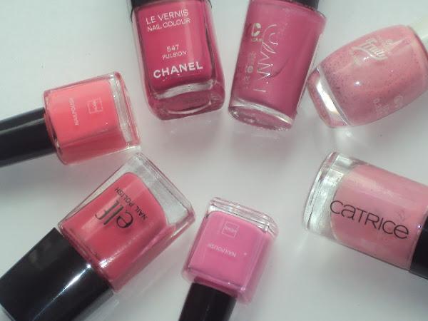 Mijn favoriete roze nagellakjes.