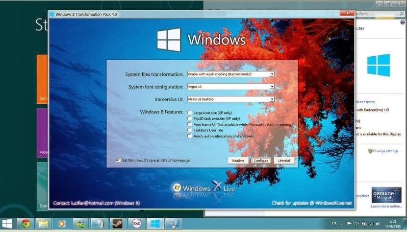 Free Download Windows 8 Transformation Pack for Windows XP, Vista, 7