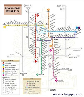 denah rute busway koridor 1-15