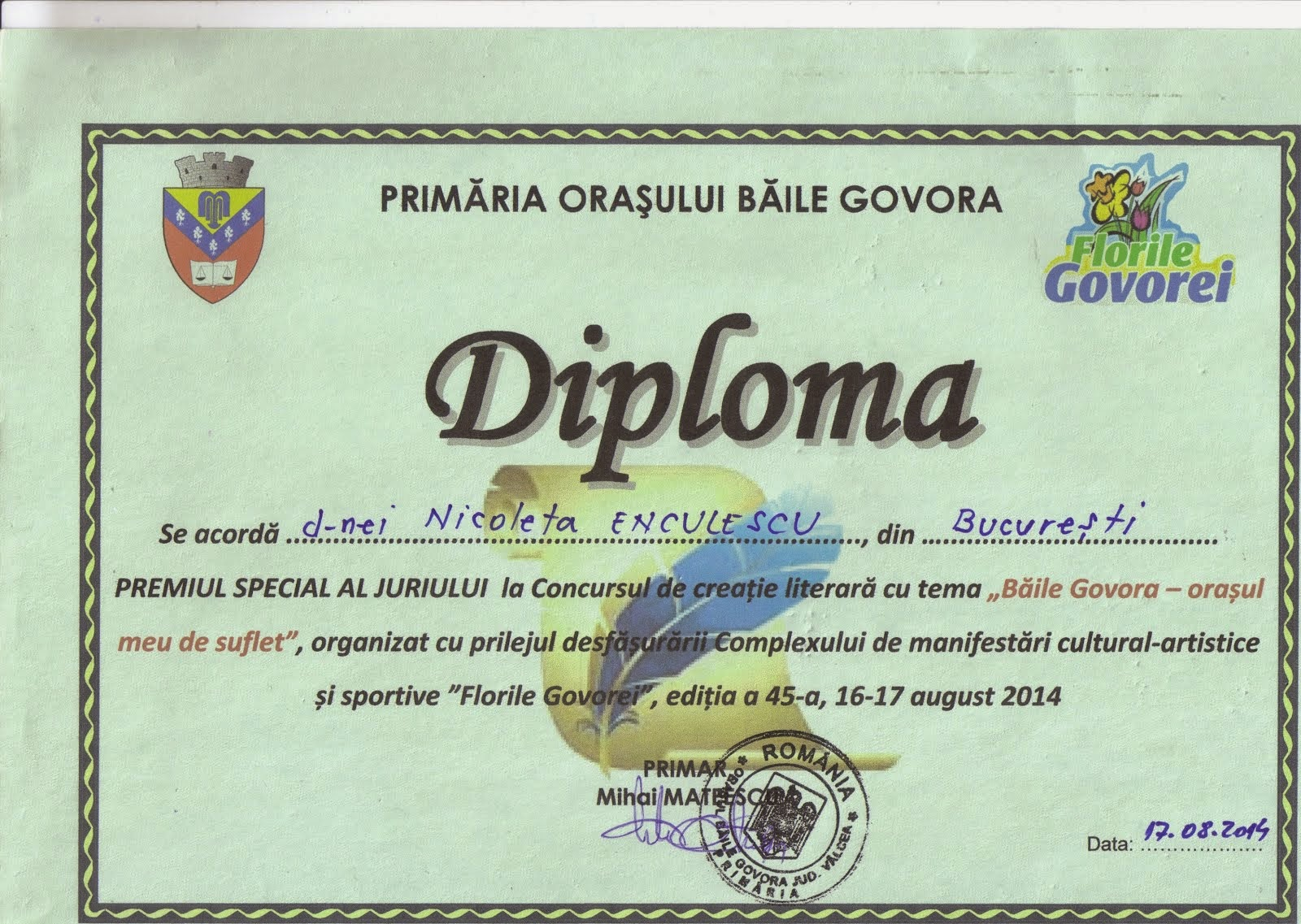 Premiu Special, august 2014