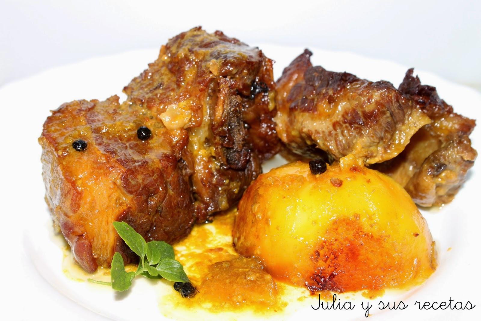 Julia y sus recetas falda de ternera al horno - Carnes rellenas al horno ...