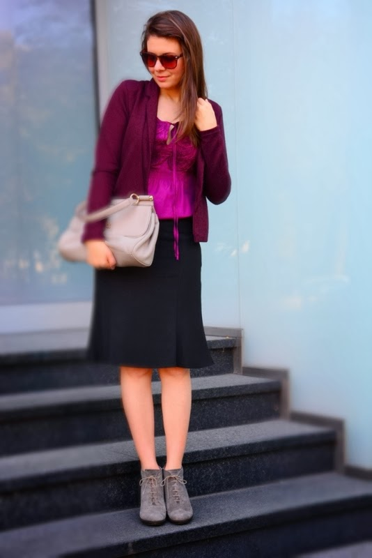 purple jacket, purple blouse