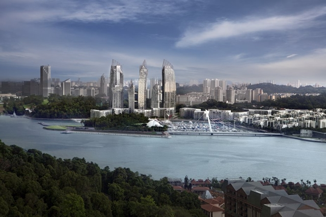 Reflections at Keppel Bay by Studio Daniel Libeskind in the distance