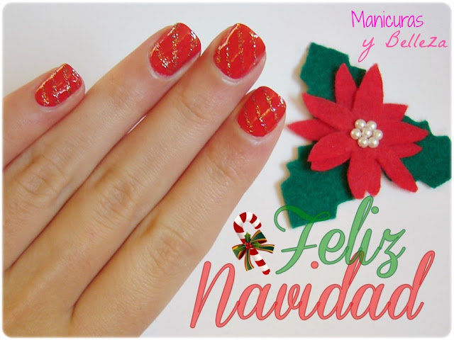 christmas nail art nails manicura navideña uñas navidad rojo rojas líneas glitter Essence freestyle and tip painter