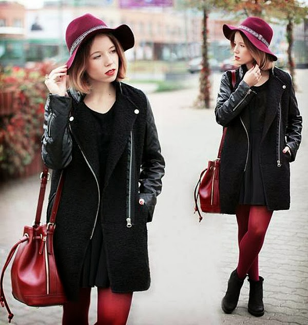 boyfriend coat and oxblood trend in dark red accessories and an all black look.