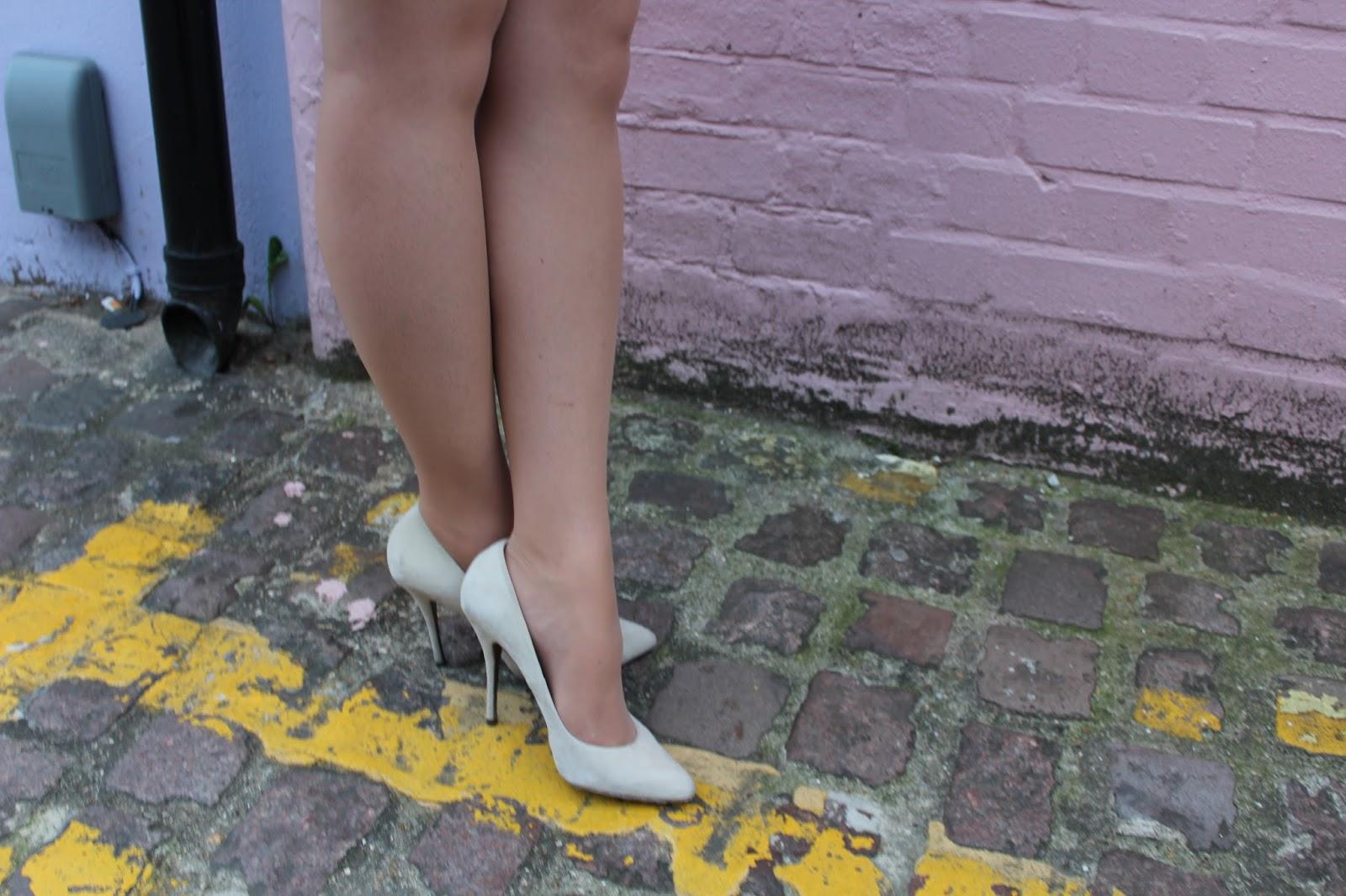 cream suede heels