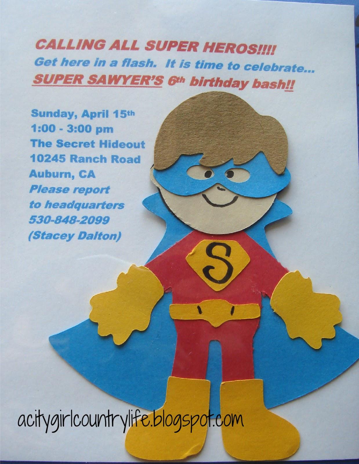Homemade Superhero Party Invitations