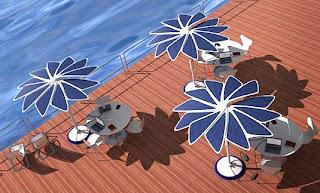 Solar panels transform umbrella in charger