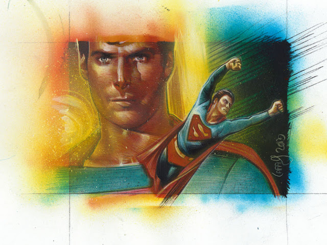 Christopher Reeves, Superman Original Sketch Card by Jeff Lafferty