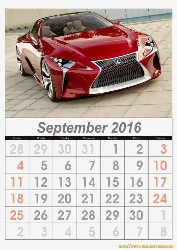 calendario de autos mes de septiembre año 2016 listos para imprimir