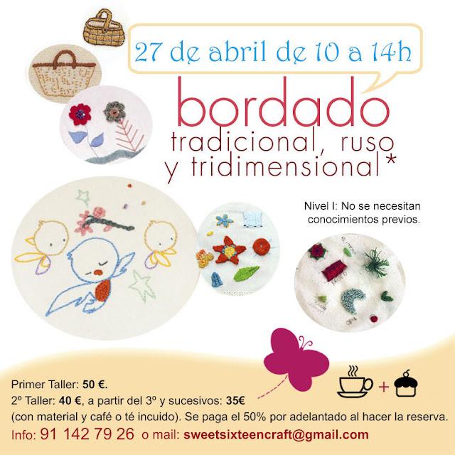Taller monográfico Iniciación al Bordado en Sweet sixteen craft store Madrid