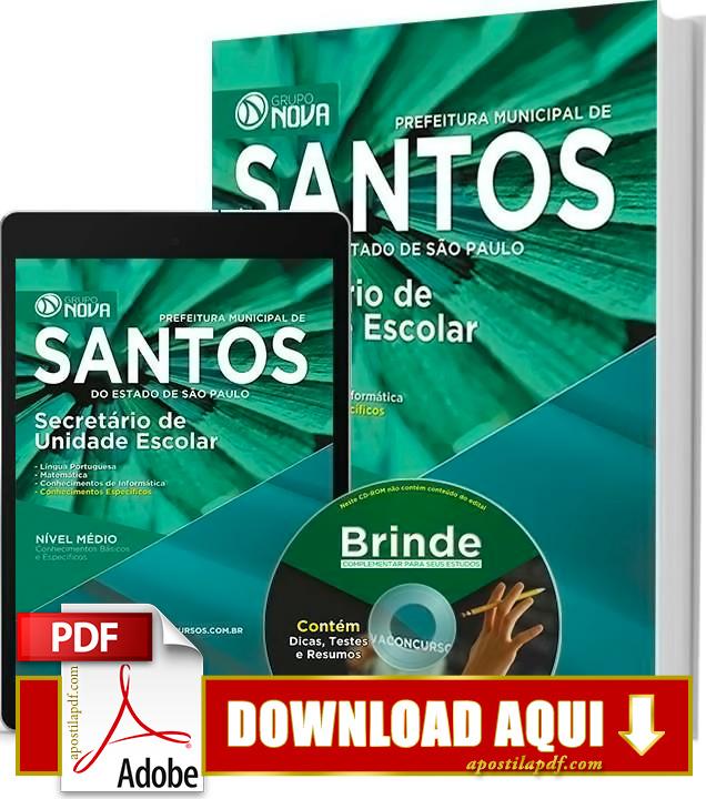 Apostila Prefeitura de Santos Secretário de Unidade Escolar PDF Grátis Download 2016
