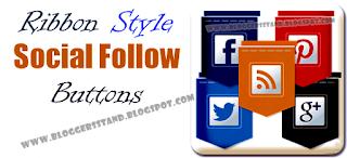 Ribbon style Social Sharing Widget For Blogger