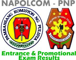 NAPOLCOM PNP entrance promotion exam result October 2011