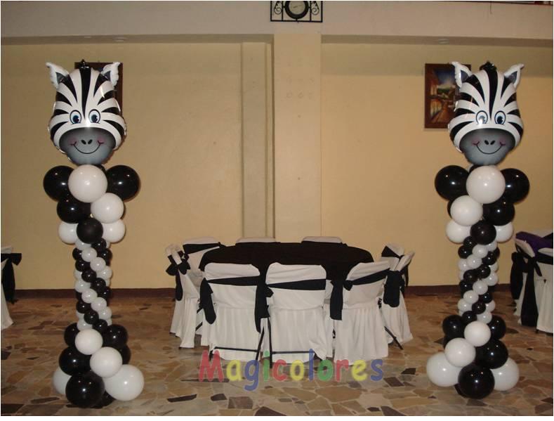 Magicolores globos columnas cabeza de cebra - Decoracion en cebra ...