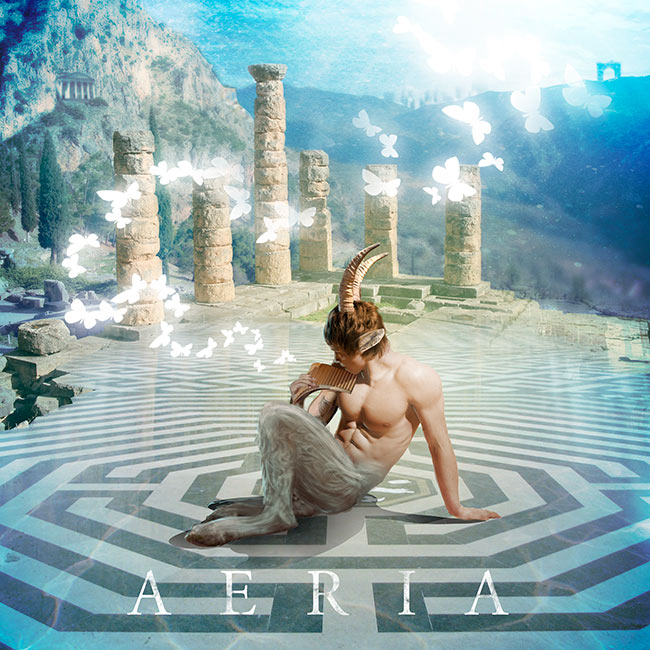 satyre pan jouant de la flute , des papillons sortent de l'instrument et vol dans un univers onirique - pochette cd musical