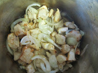 fry chicken onion garlic for plov recipe
