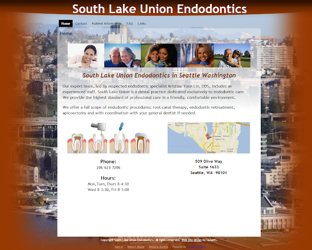 Google Sites website designed for South Lake Union Endodontics in Seattle Washington