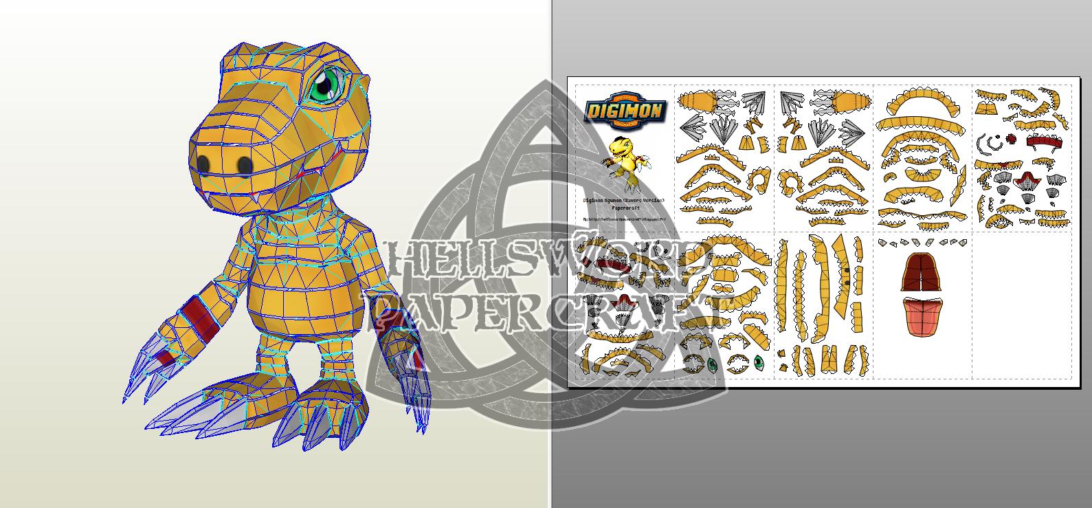 hellsword papercraft digimon agumon savers version papercraft
