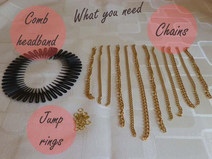 DIY project: tutorial: Glam Chain Headband inspired by Bethany (Macbarbie07); how to make hair accessory with golden chains; What you need: comb headband, jumprings, chains