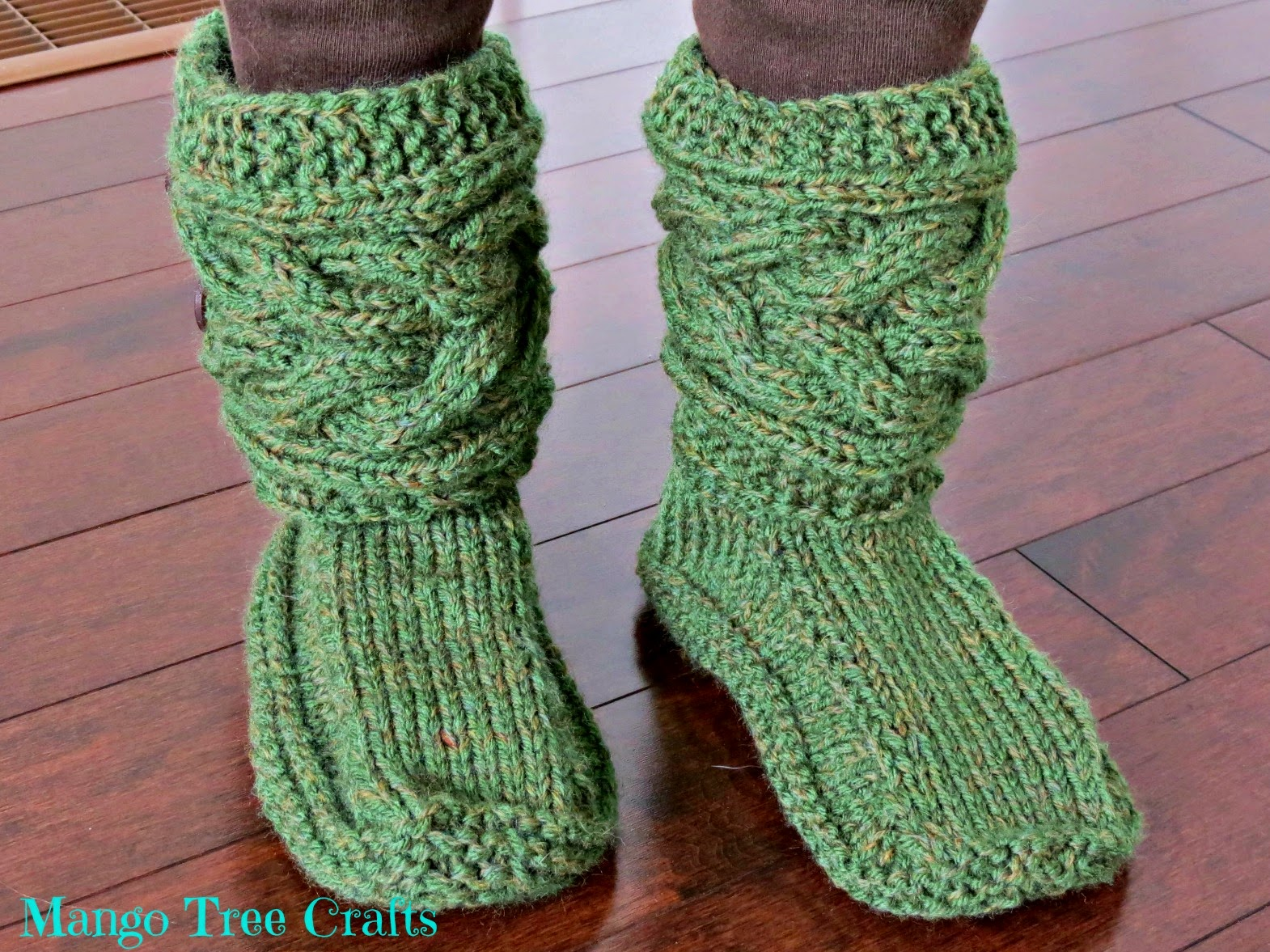 Knitting Pattern Ladies Slipper Boots : Mango Tree Crafts: Knitted Slipper Boots