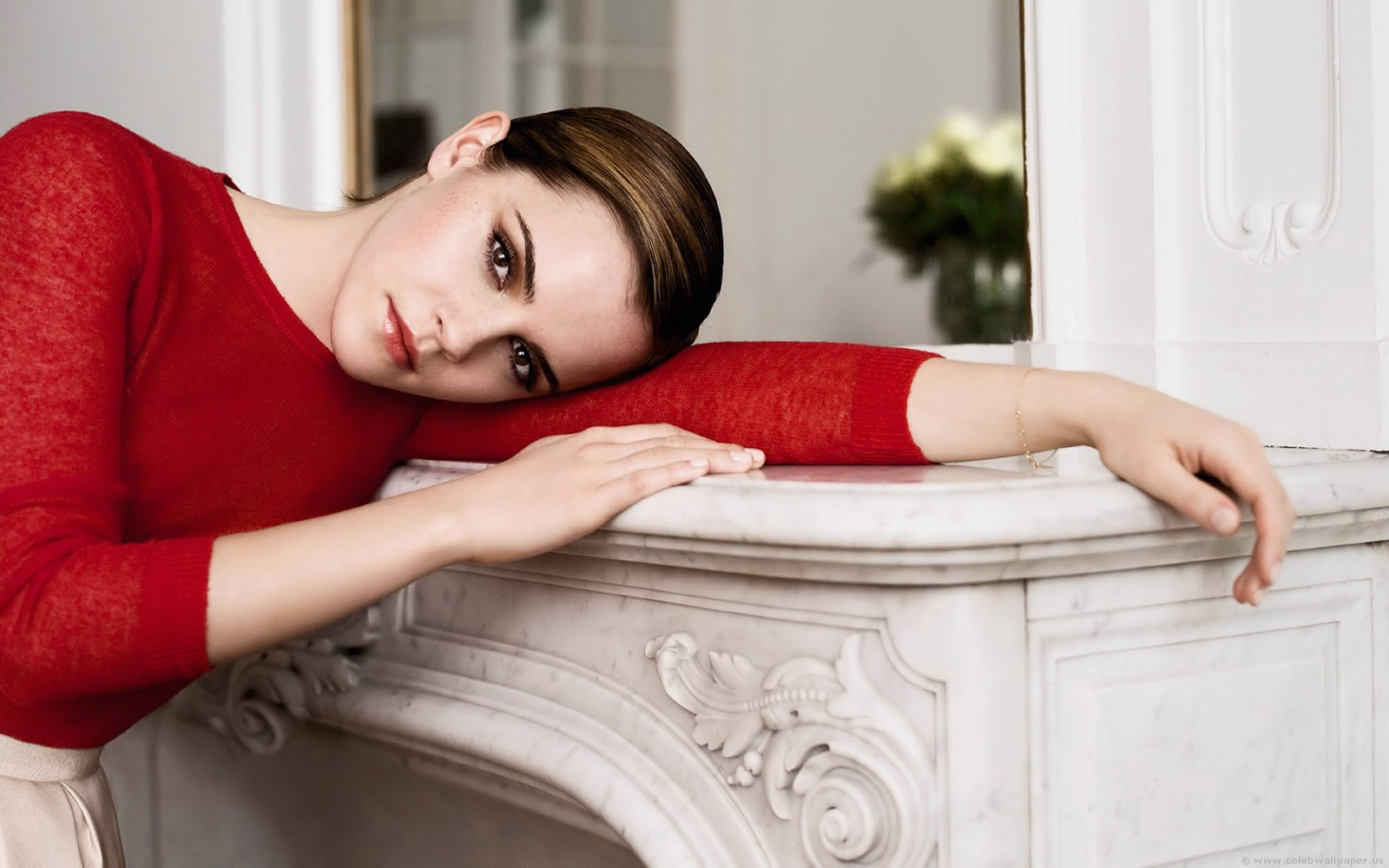 Emma Watson Hot Red Dress HD Wallpaper
