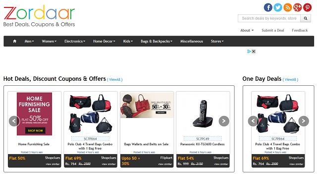 Destination for best daily deals and for Online discount shopping sites