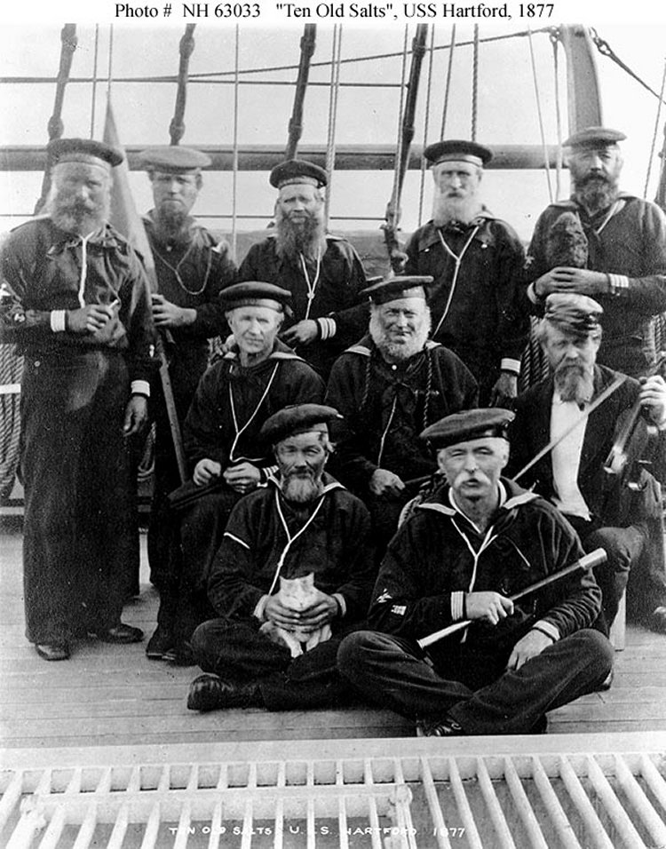 36 Amazing Historical Pictures. #9 Is Unbelievable - Sailors on the USS Hartford. Many of these men could have sailed with Farragut at New Orleans, Vicksburg and Mobile Bay during the Civil War.