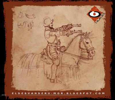 Diseño de miniatura de los tercios del Imperio hecha por ªRU-MOR para gamezone a escala warhammer fantasy. Pistolero o caballería ligera