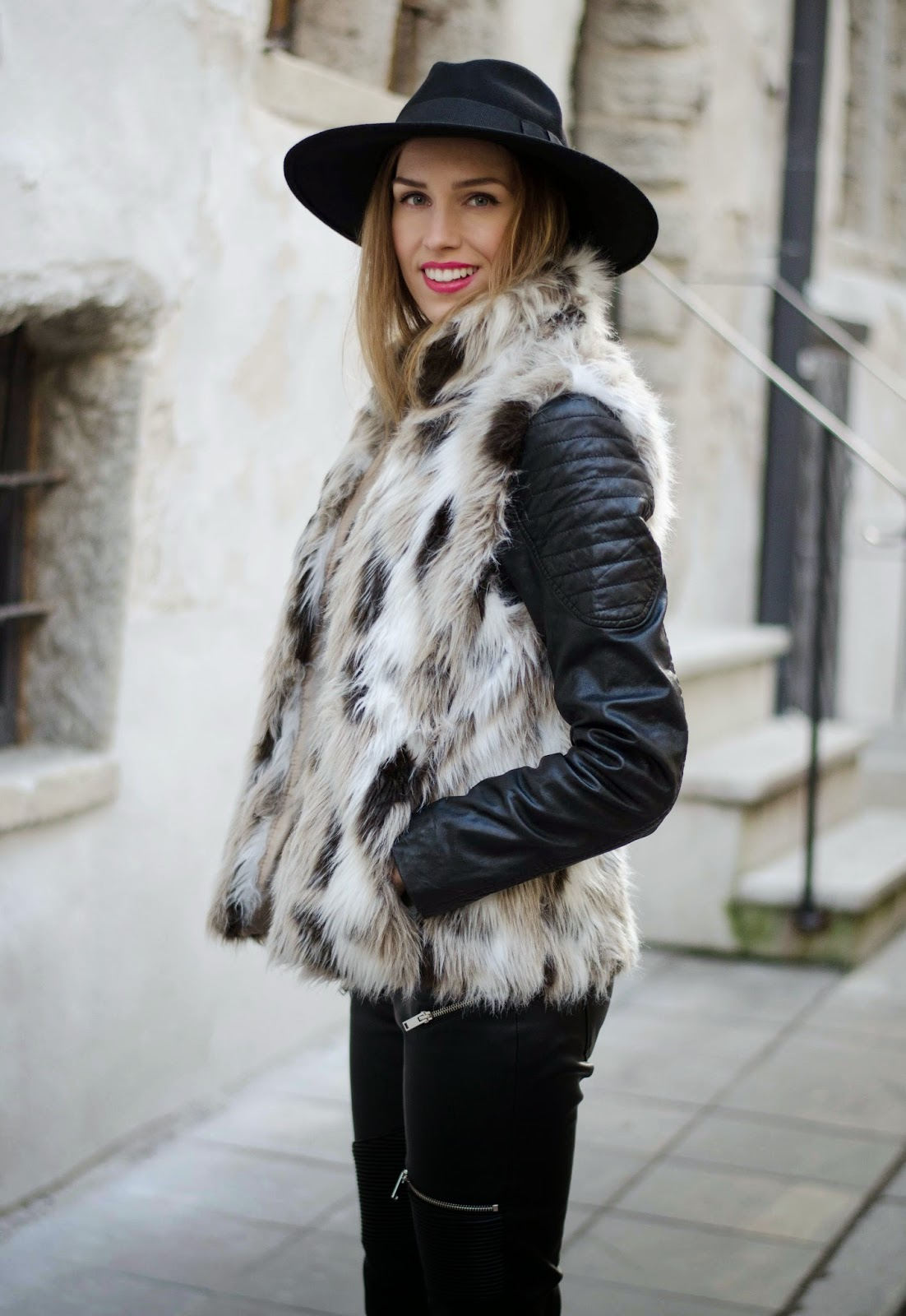 kristjaana mere fur vest leather jacket leather pants outfit street style