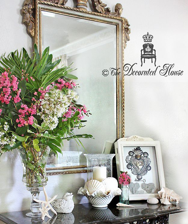 The Decorated House :: Summer Decorating : Shells, Flowers, Ex Voto, Vintage Milk Glass