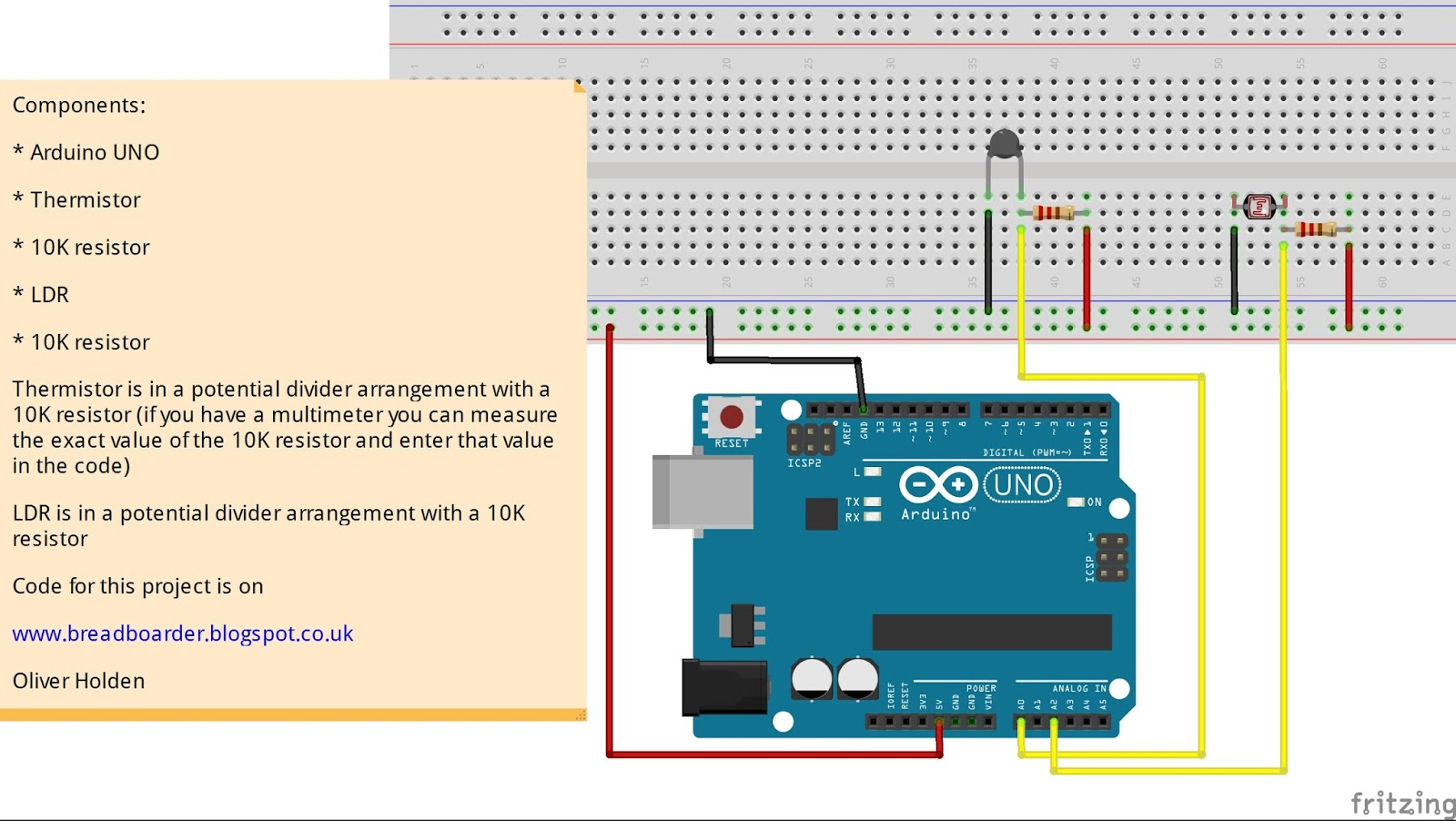 Breadboarders: Arduino with a Thermistor and LDR to get temperature ...