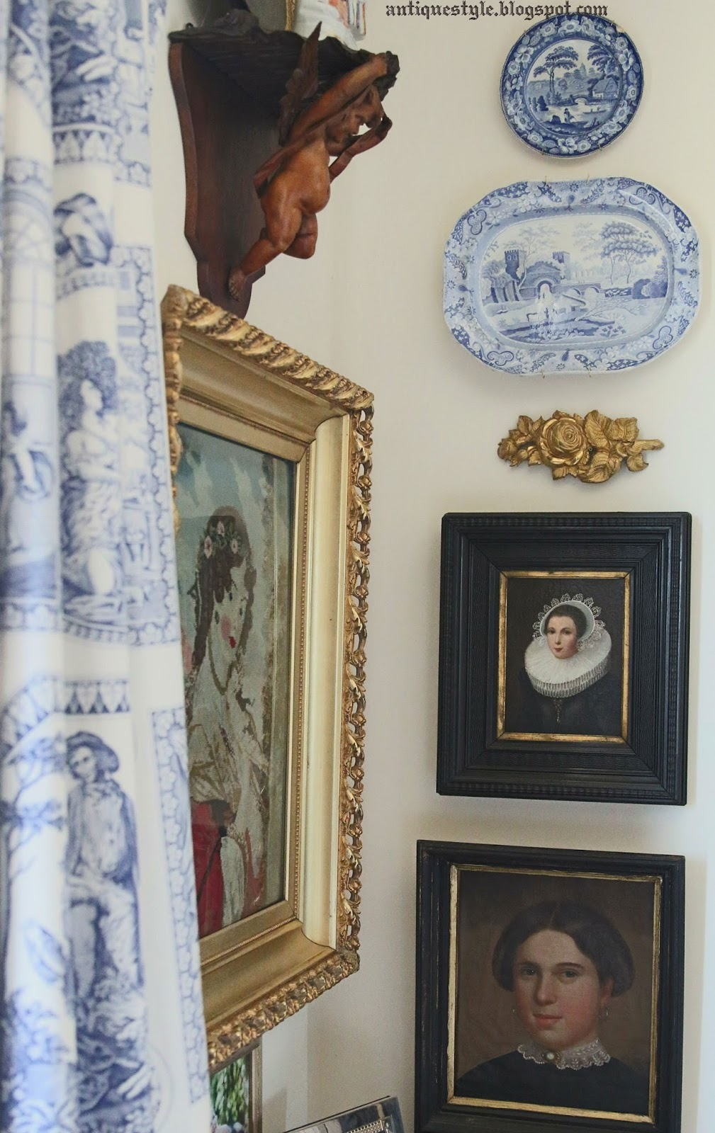 antique style decorating with antiques in a bedroom