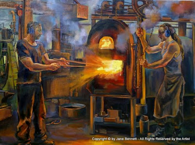 "oil painting on canvas  of industrial heritage""The Blacksmiths, Eveleigh Railway Workshops"" oil on canvas 91 x 122cm by Artist, Jane Bennett"