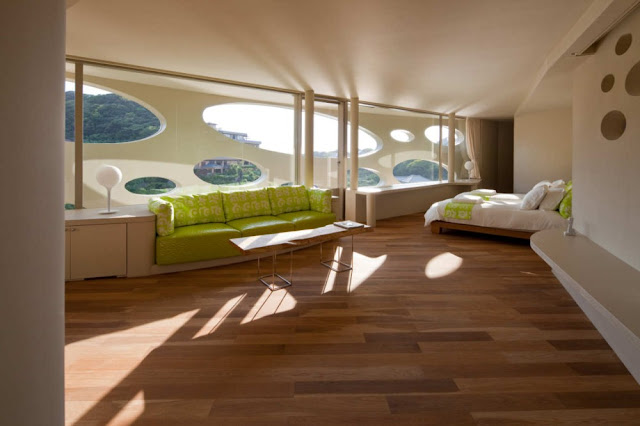 Photo of beautiful large bedroom inside of round home