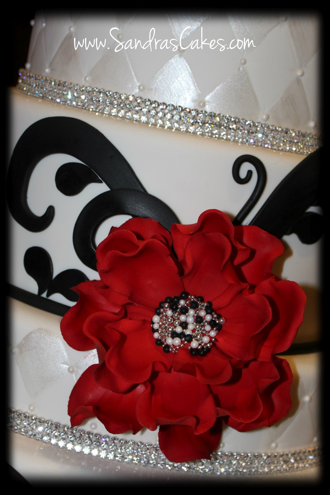 Birthday Cakes Red Black and White Wedding Cake